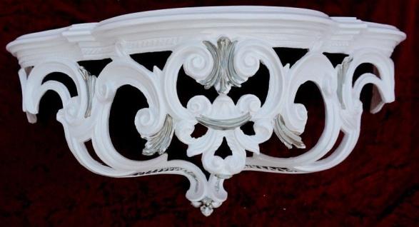 Wandkonsole Weiß-Silber Barock Wandregal Spiegelkonsole 50x20x24 Ornament Cp72