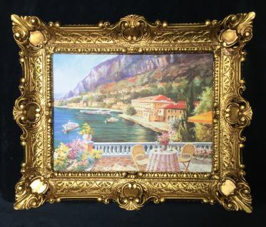Bild Landschaftsbild Haus am See Blick Wandbild mit Rahmen 57x47 Kunstdruck