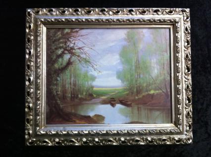 Gerahmte Gemälde Bilder Rahmen Landschaftsbilder Arabesco 43x36 Antiksilber 14