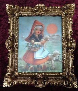 Bild Rahmen Gold Rotkäppchen Schaf Kind Wandbild Gemälde Mädchen 45x38 Barock