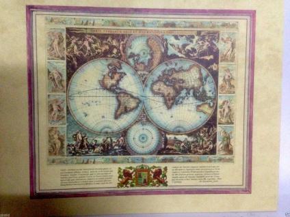 Weltkarte Antik Mittelalter Landkarte Bild 40x50 Kunstdruck Vespucci Wandbild
