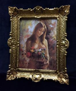 Akt Erotik Gemälde gerahmte Bild 56x46 Frau Nackt Bild mit Rahmen Barock 02
