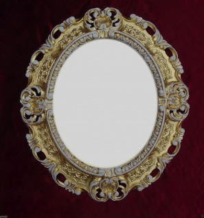 BILDERRAHMEN Oval GOLD-WEIß barock Foto Spiegelrahmen Shabby Jugendstil 45x37