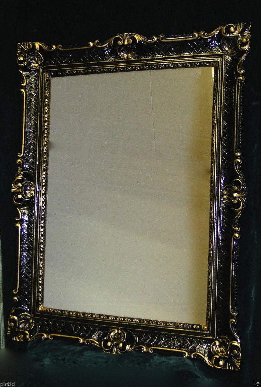spiegel antik wandspiegel barock xxl spiegel schwarz gold rahmen hochglanz 90x70 kaufen bei. Black Bedroom Furniture Sets. Home Design Ideas