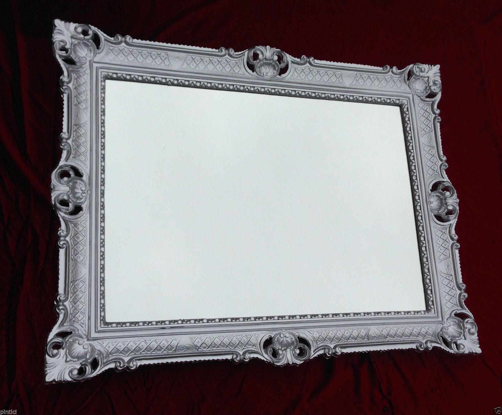 wandspiegel silber barock gro er spiegel antik 90x70. Black Bedroom Furniture Sets. Home Design Ideas