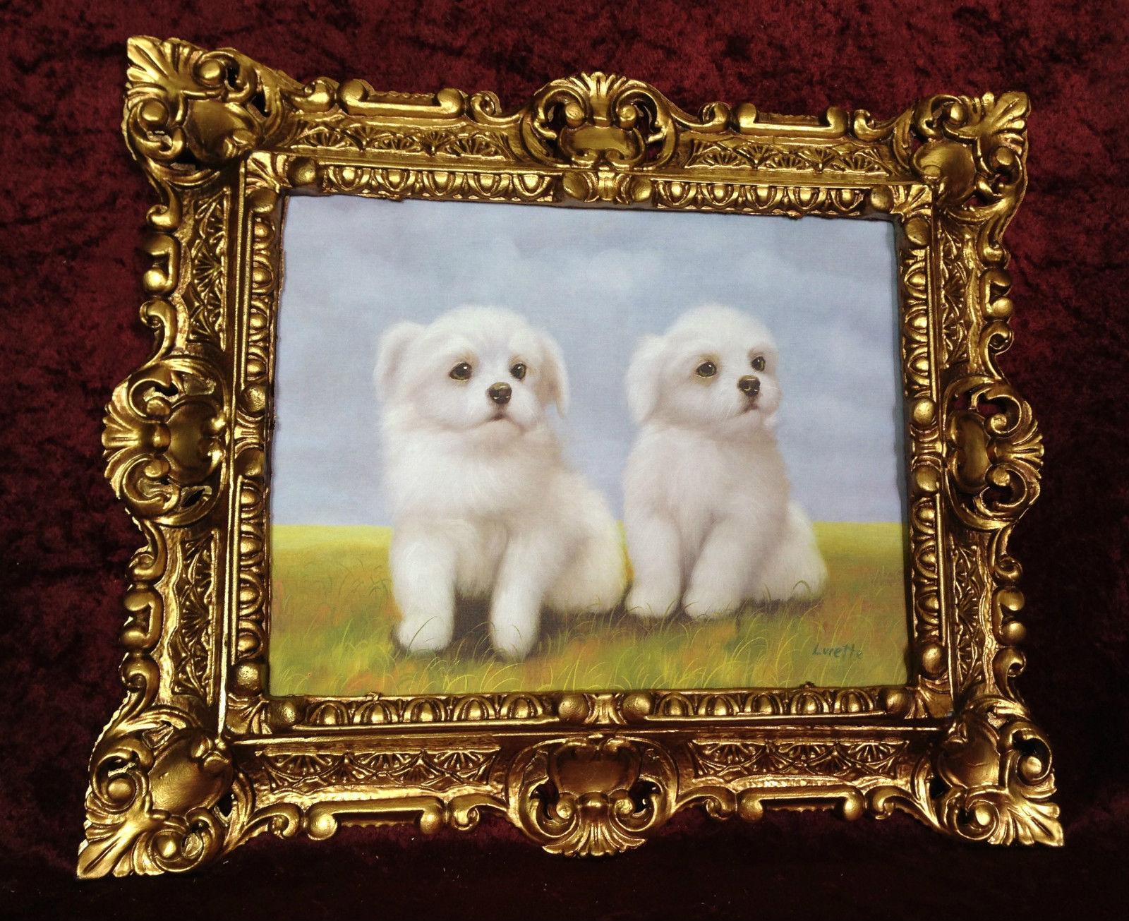 bild mit antik rahmen wei h ndchen hunde baby wandbild 45x38 hunde welpe kaufen bei pintici. Black Bedroom Furniture Sets. Home Design Ideas