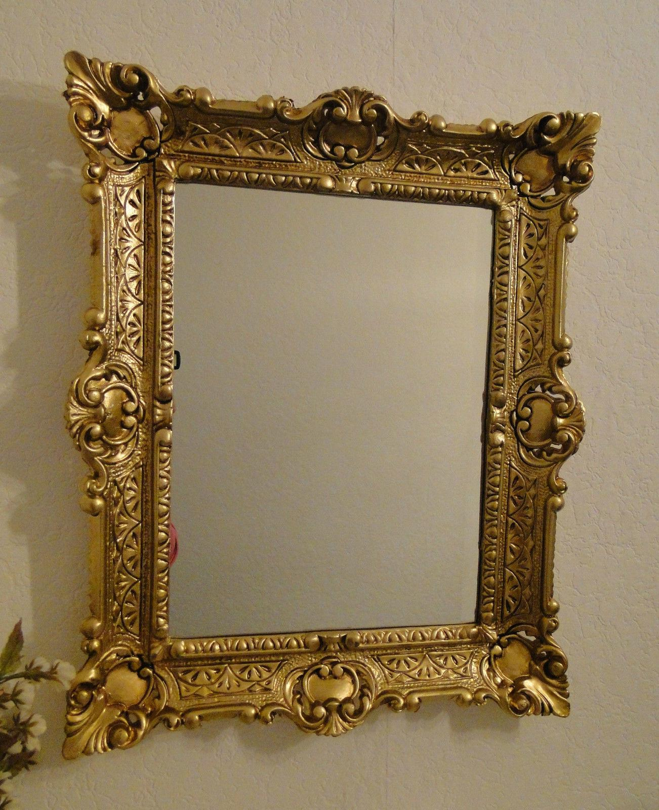 vintage wandspiegel antik spiegel barock 57x47 bad spiegel gold rechteckig kaufen bei pintici. Black Bedroom Furniture Sets. Home Design Ideas