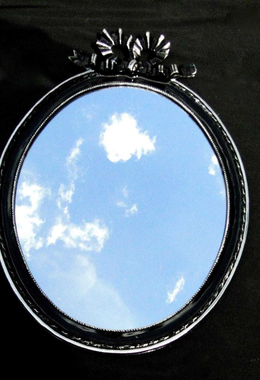 Wandspiegel Schwarz Silber Spiegel 57x41 BAROCK Oval massiv ...