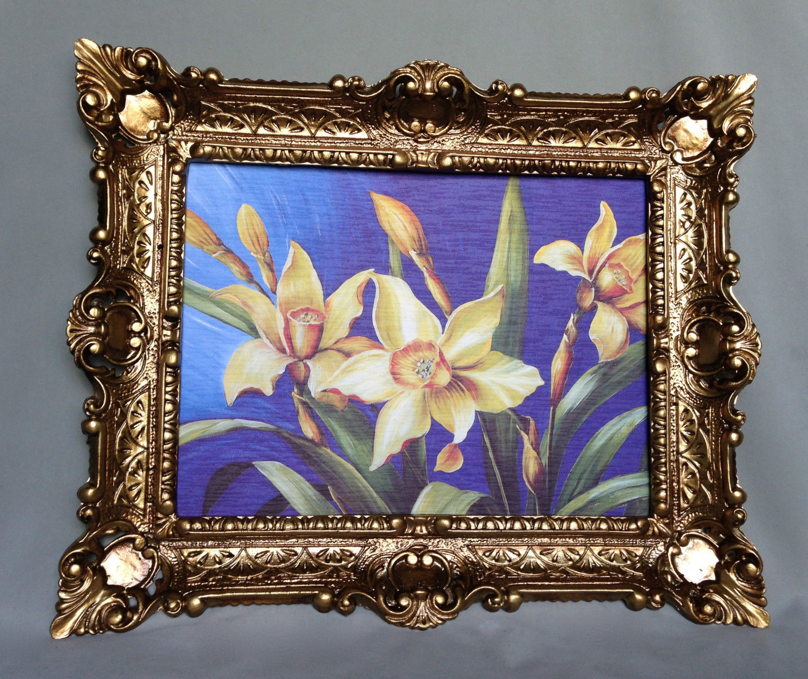 gem lde blumen lilien gelb wandbild 57x47 blumen bild mit rahmen gold 05 kaufen bei pintici. Black Bedroom Furniture Sets. Home Design Ideas