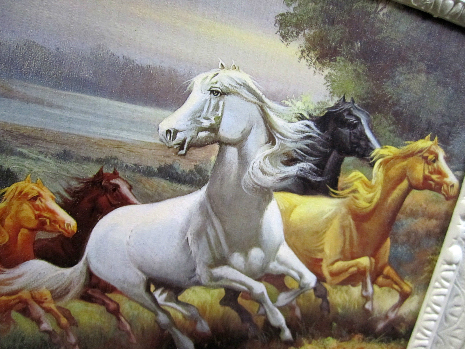 gem lde pferde bilder pferd mit bilderrrahmen wandbild. Black Bedroom Furniture Sets. Home Design Ideas