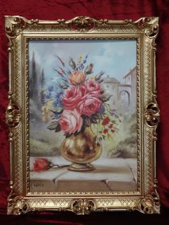 Gemälde BLUMEN Gemälde Bild 90 70 Bild mit Rahmen Rosen Goldene Vase gerahmt B3