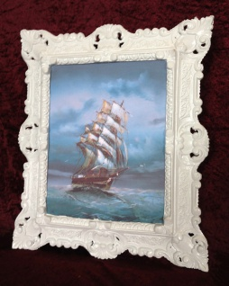 Bild mit Rahmen Schiff Meer Maritime Schiffe 45x38 Segelschiff Höher See Gemälde