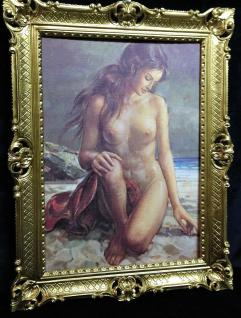 Gerahmte Gemälde Frau Barock 90x70 Wand Bild Frau Nackt blume Bild Kunstdruck D6