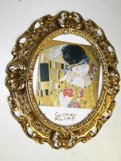 BILDER mit Rahmen -der Kuss, Gustav Klimt - GOLD OVAL ANTIK BAROCK Neu