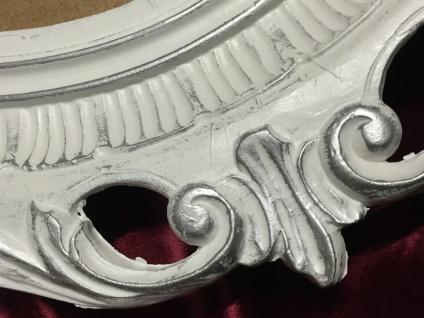 Bilderrahmen Oval Weiß Silber Barock Antik Rahmen 58x68 Fotorahmen mit Glas