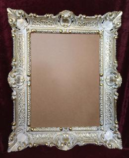 Bilderrahmen Weiß-Gold mit glas 56x46 Gemälde rahmen Antik /Fotorahmen 30x40