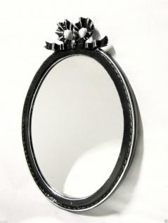 Wandspiegel Oval Schwarz Silber Vintage Antik 57x41 Shabby Badspiegel Fiocco
