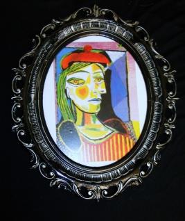 Gemälde Kunstdruck Pablo Picasso Clown Bild mit Rahmen Schwarz-Silber Shabby