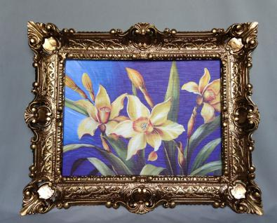 Gemälde Blumen Lilien Gelb Wandbild 57x47 Blumen Bild mit Rahmen Gold 05