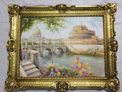 Italien Bild Gerahmte Landschaftsbild Gemälde Städte 90x70 Rom Aquarell Italien