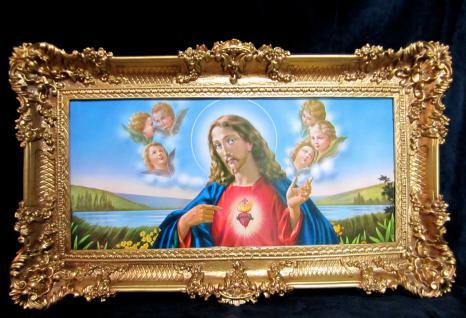 Bild mit Rahmen JESUS CHRISTUS 96x57 Gemälde mit Rahmen Jesusbild da Vinci