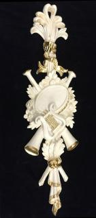Wanddeko Barock Wandbehang Weiß-Gold Deko 60x18 Antik Harfe und Trompete C1502