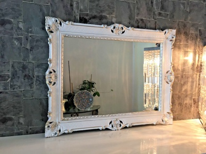 Wandspiegel 90x70 Spiegel BAROCK Rechteckig Antik Weiß-Gold-Silber Badspiegel