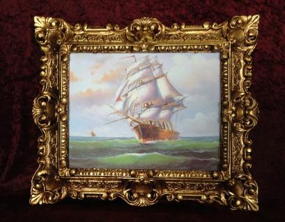 Gemälde Schiff Meer Maritime Schiffe 45x38 Segelschiff Höher See Bild mit Rahmen