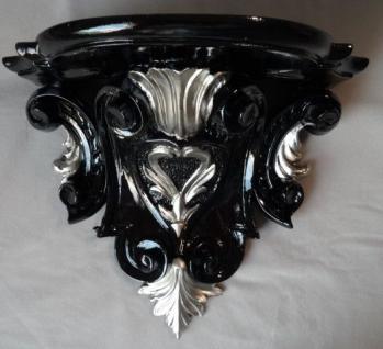 Wandkonsole Barock Schwarz Silber 29x25 Wandregale Antik Spiegelkonsole c77