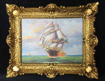 Segelschiff Meer Maritime Barock Gemälde Schiffbild 57x47 Wandbild mit Rahmen