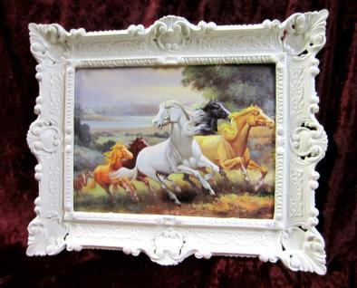 Gemälde Pferde Bilder Pferd mit Bilderrrahmen Wandbild Antik mit Pferd 56x46