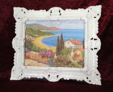 Bild mit Rahmen Gerahmte Gemälde 45x38 See Strand Blumen Landschafts Haus am See