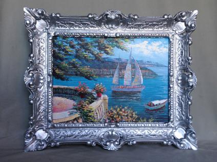 Bild mit Rahmen Paradies Italien 47x57 Landschafts Haus am See Segelschiff L11