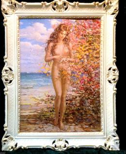 Gemälde Frau Nackt Frauenakt Aktgemälde Wandbild 90x70cm Barock Rahmen