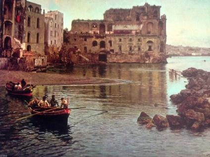 Landschaftsgemälde Insel 50x40 Kunstdruck auf MDF Hafen Historisches Bild