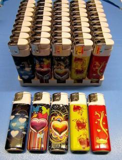 50 Feuerzeuge mit HERZ Motiv nachfüllbare lighter NEU Feuerzeug-a
