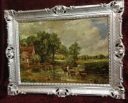 Bild mit Rahmen Gerahmte Gemälde 90x70 Landschafts Kunstdruck Pferde Kutsche 2