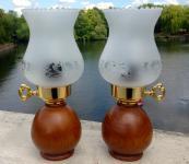 2x Tischlampe Nachtischlampe HOLZ Tischleuchte Design H27 Leselampe Landhaus