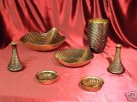 Vasen set aus Glass Artemis 7 teilig Braun Gold