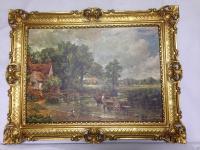 Bild mit Rahmen Gemälde Landschafts ZIGEUNER ITALY Antik 90x70 Pferde Kutsche 2