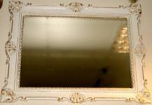 Wandspiegel 90x70 Spiegel BAROCK Rechteckig Antik 1111 Weiß-Gold Badspiegel 1