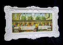 Das Letzte Abendmahl 97x58 Jesus Gemälde mit Rahmen Jesusbild Leonardo Da Vinci