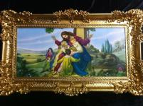 Jesus mit kinder Bild Gerahmtes Gemälde Rahmen 98x57 Heilige Jesus Christusbild