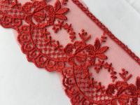 Spitze Spitzenband 75mm Tüllspitze rote Spitze Meter Borte Spitzenborte