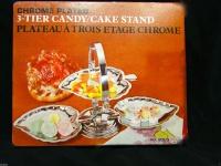 Schale mit 3 Fach Verchromt cake Stand Etagere Metall 27x14