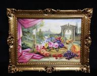 Gemälde mit Obst und Blumen Bilder Gedeckte Tisch 90x70 Bild mit rahmen 01-01 G
