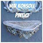 Wandkonsole BAROCK Wandspiegel Spiegel KONSOLE Retro 38x20x15 ANTIK Weiß-Gold