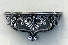 Wandkonsole Barock Schwarz-Silber 38x20 Spiegelkonsole/Wandregal ANTIK 3083