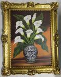 Blumen Gerahmte Gemälde 90x70 Bild mit Blumen Calla Blumen in Vase 01-08 Blumen