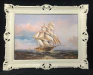 Gemälde Segelschiff Meer Schiffsbilder Seestück Maritime Weiß Schiffe 90x70